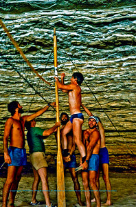 Volleyball set-up under Redwall Canyon at Mile Thirty-Three (33) of the Colorado River within Grand Canyon National Park (USA AZ Grand Canyon)