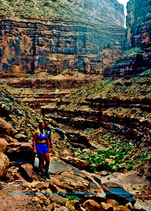 Hiking through the Colorado River's rugged North Canyon within Grand Canyon National Park (USA AZ Grand Canyon)