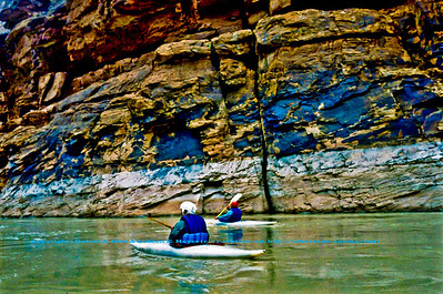 Kayaking through the Colorado River's colorful Marble Canyon within Grand Canyon National Park (USA AZ Grand Canyon)