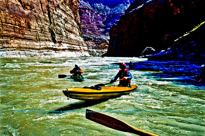 Colorful limestone cliffs dwarf Colorado River paddlers between Vasey's Paradise and Redwall Canyon within Grand Canyon National Park (USA AZ Grand Canyon)