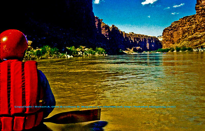 View from Canoe at Mile Two of the Colorado River within Grand Canyon National Park (USA AZ Grand Canyon)