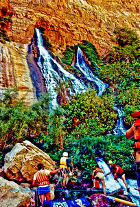 Paddlers enjoying Vaseys Paradise at Mile Thirty Two (32) of the Colorado River within Grand Canyon National Park (USA AZ Grand Canyon)