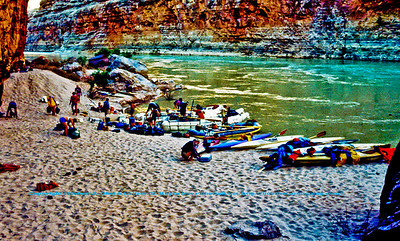 Tiger Wash Camp Two (2) at Mile Twenty six (26) of the Colorado River within Grand Canyon National Park (USA AZ Grand Canyon)