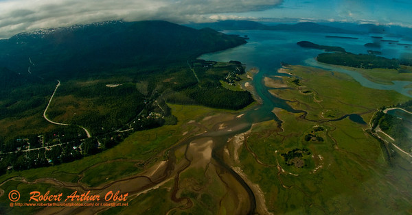 Blue sky aerial view of Mendenhall Wetlands State Game Refuge and the outlet of the Mendenhall River into Fritz Cove and Auke Bay of the Pacific Ocean (USA Alaska Juneau)