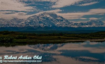 Reflections of Denali or Mount McKinley and its forests in Wonder Lake within Denali National Park (USA Alaska Denali Park)