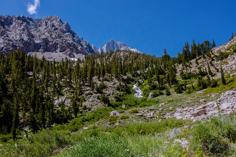 Along the lower part of Kearsarge Pass Trail