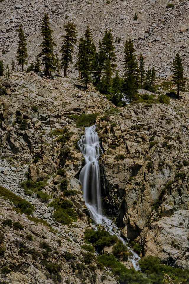 The waterfall on Golden Trout Lake Trail as seen from Kearsarge Pass Trail.
