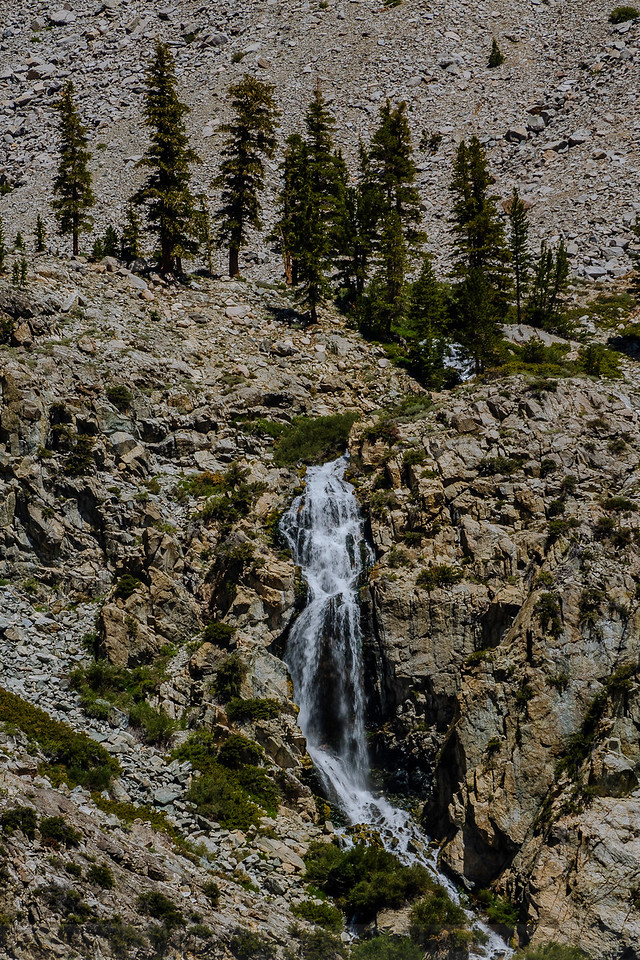 The waterfall on Golden Trout Lake Trail as seen from Kearsarge Pass Trail
