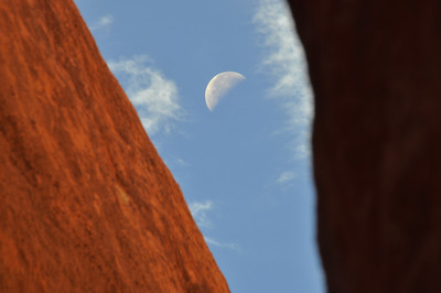 The Moon Above Peek-a-Boo Slot Glen Canyon National Recreation Area, Utah.  Copyright © 2010 All rights reserved