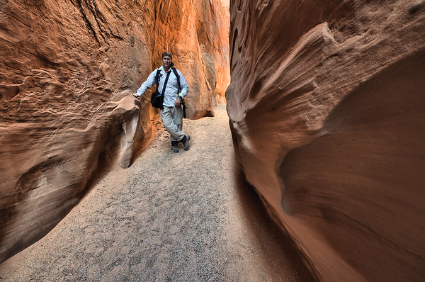 Self Portrait in the Dry Fork Narrows Slot Glen Canyon National Recreation Area, Utah.  Copyright © 2010 All rights reserved