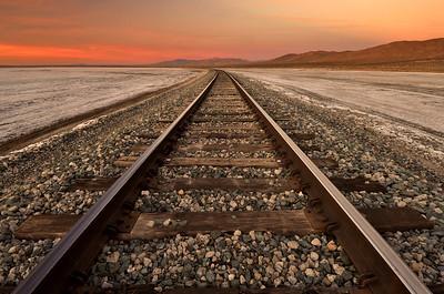 Tracks Through Koehn Dry Lake, Mojave, California.  Copyright © 2010 All rights reserved.