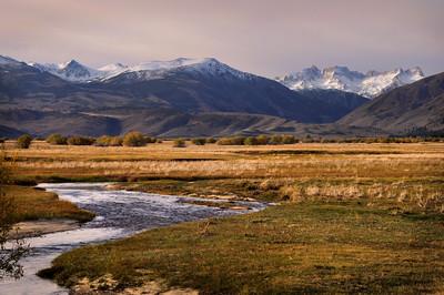 Unnamed Creek and the Sawtooth Range. Eastern Sierra Nevada Range, California.  Copyright © 2010