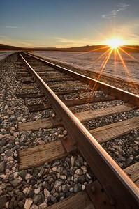 Train Tracks Sunrise at Koehn Dry Lake