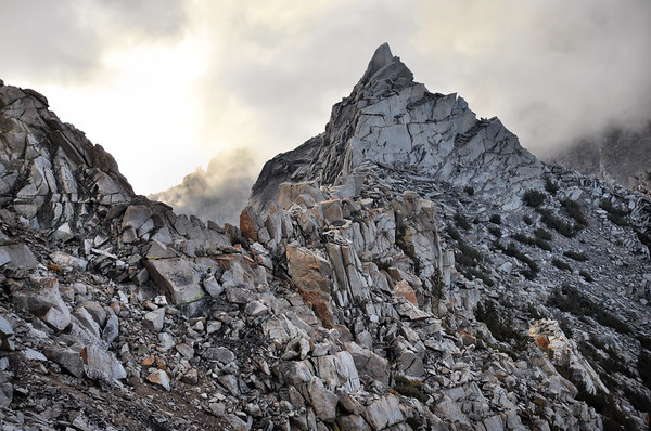 Rock and Clouds Near Kearsarge Pass.  Sierra Nevada Range, California.  Copyright © 2010 All rights reserved.