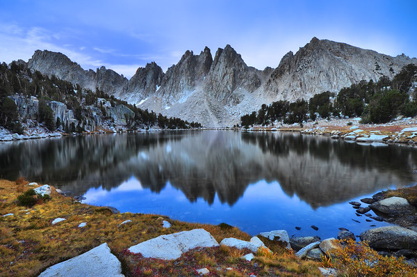 Kearsarge Lake and Pinnacles.  Sierra Nevada Range, California.  Copyright © 2010 All rights reserved.