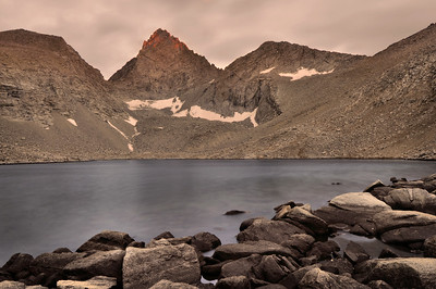 Last Light on Junction Peak (center) and Forester Pass (right).  Copyright © 2010 All rights reserved.