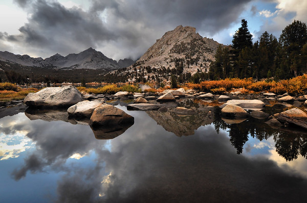 Morning Reflections in Bullfrog Lake.  Sierra Nevada Range, California.  Copyright © 2010 All rights reserved.