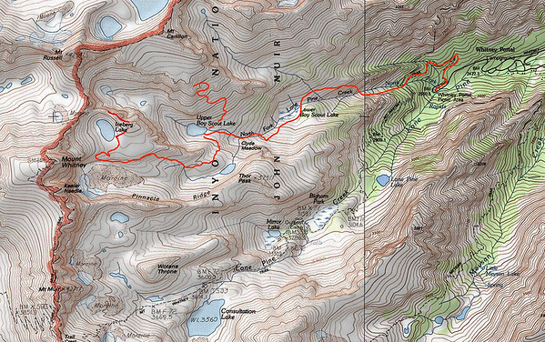 Map showing my route from Whitney Portal to Iceberg Lake.  Just a short trip, looking for interesting angles of Mount Whitney.