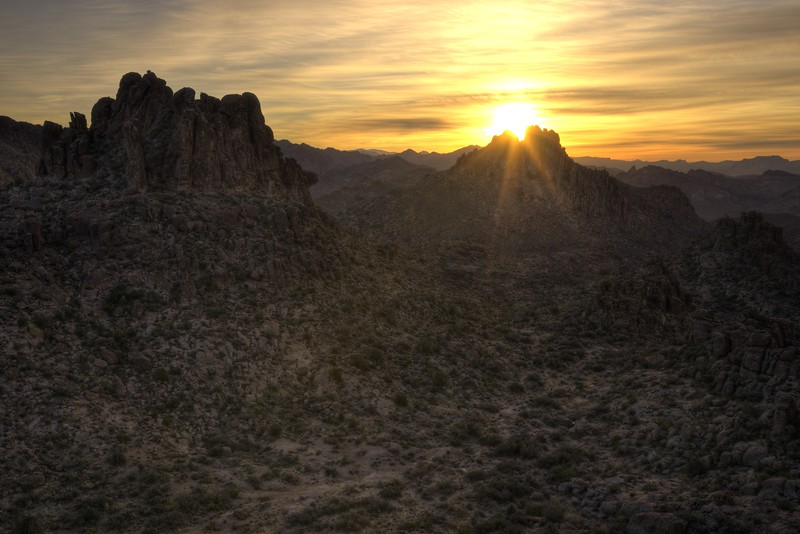 Sunrise in the Heart of the Superstition Mountains Tonto National Forest, Arizona.  Copyright © 2013 All rights reserved