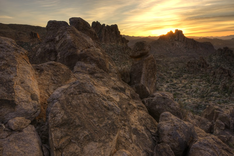 Sunrise in the Superstition Mountains Tonto National Forest, Arizona.  Copyright © 2013 All rights reserved