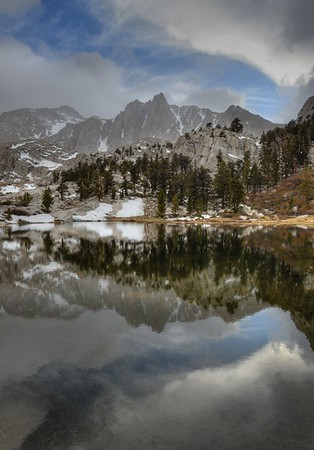 Mount Irvine reflected in Camp Lake Inyo National Forest, California.  Copyright © 2013 All rights reserved.