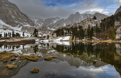 Mount Irvine reflects in Camp Lake Inyo National Forest, California.  Copyright © 2013 All rights reserved.