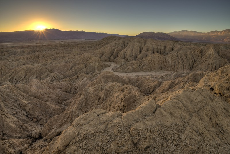 Last Light over Inspiration Point Wash Anza-Borrego Desert State Park, California. Copyright © 2013 All rights reserved.
