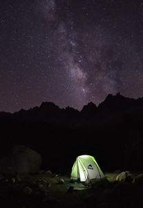 My Camp and the Milky Way (Kearsarge Pinnacles in the distance) Kings Canyon National Park, California.  Copyright © 2013  All rights reserved.