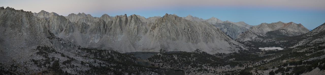 Panorama West of Kearsarge Pass Kings Canyon National Park, California.  Copyright © 2013  All rights reserved.