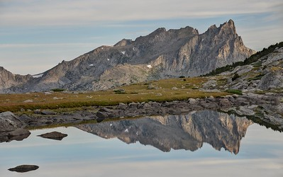 Warbonnet Peak Reflected in a Tarn Near Temple Lake
