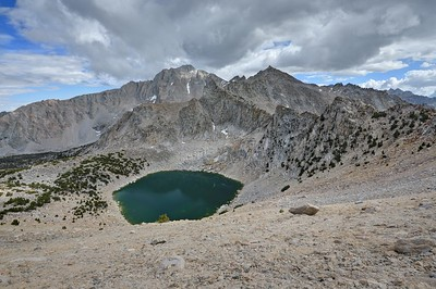 Big Pothole Lake and University Peak from near Kearsarge Pass