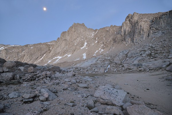 Mount Irvine and a Bright Setting Moon