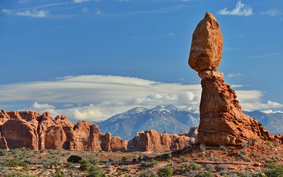 Balanced Rock and the La Sal Range