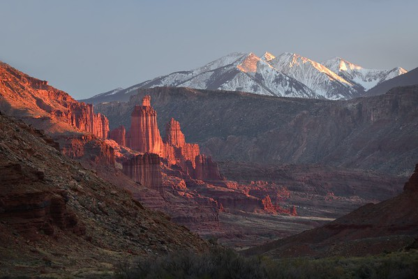 Fisher Towers and the La Sal Range (Sunset)