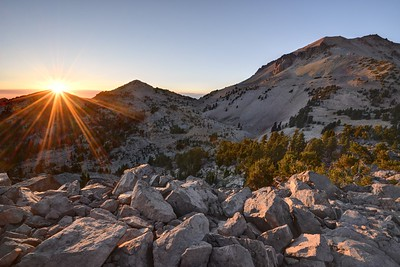 Sunset Over Lassen Peak's Shoulder