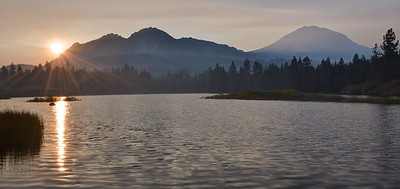 Thanks to the Yosemite Fire Further South, this was the Smokey Sunrise Over Manzanita Lake