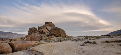 Rock Formation and Lenticular Clouds