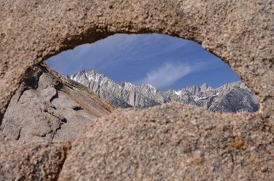 Lone Pine Peak and Mount Whitney Framed by Peek-A-Boo Arch