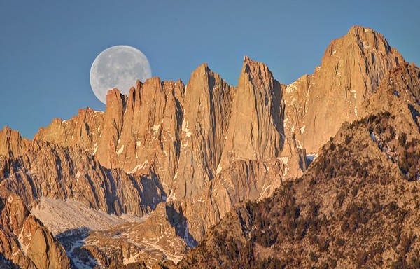 Moon Set Over Mount Whitney
