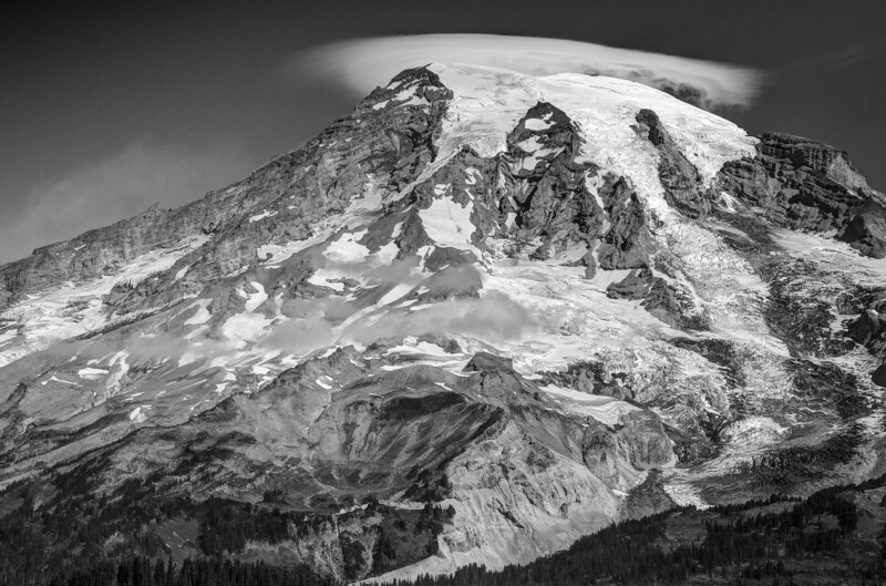 Lenticular Cloud Over Mount Rainier (BW)