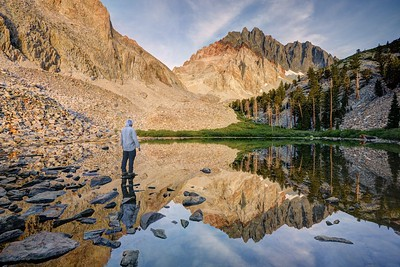 Morning View of Split Mountain from Lower Red Lake