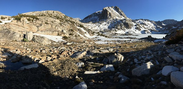 Muriel Peak and My Camp (left)