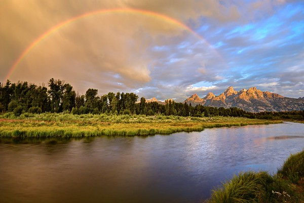 Stormy Sunrise at the Snake River and the Grand Tetons