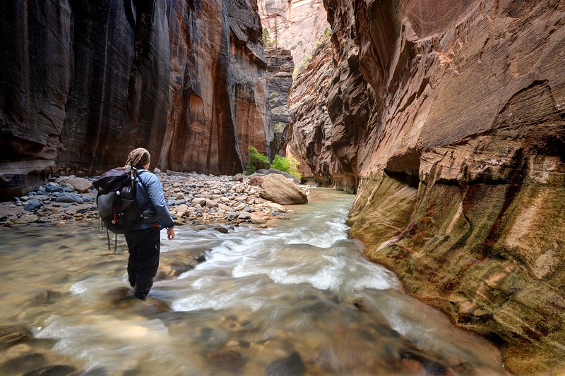 Hiking in the Virgin River Narrows