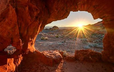 Sunrise Through Redrock
