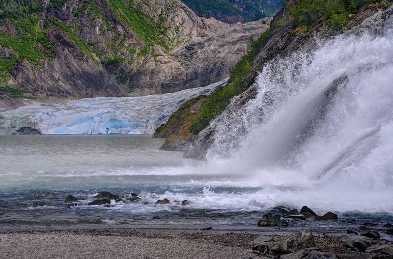 Mendenhall Glacier and Waterfall