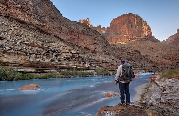 Hiker Along the Little Colorado River