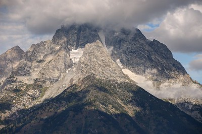 Mount Moran's Summit Covered in Clouds