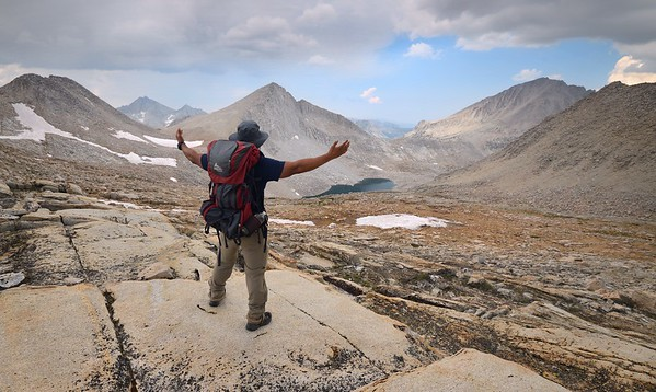 Hiker on Italy Pass Looking Northwest