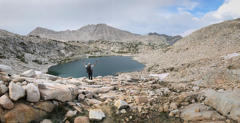 Hiker Above the Largest of the Granite Basin Lakes